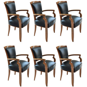 Set of Six Oceanliner Armchairs by Jules Leleu