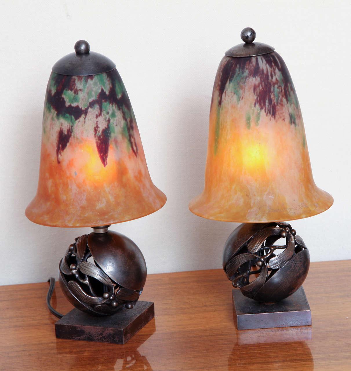 Pair of edgar brandt daum art deco table lamps paul stamati pair of edgar brandt daum art deco table lamps paul stamati gallery geotapseo Images