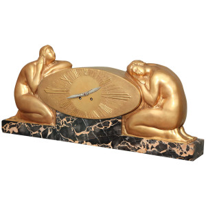 French Art Deco Mantle Clock by Raoul-Eugene Lamourdedieu