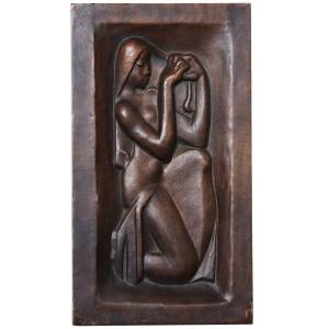 """Femme se peignant"" Bronze-relief by Joseph Csaky"