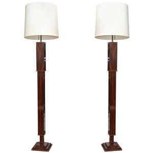 Pair of Tall Art Deco Macassar Torcheres