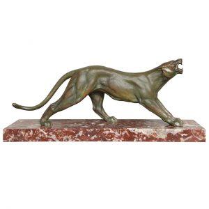 Art Deco Bronze Panther by J. Davergne