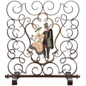 An Unusual French Art Deco Figural Fire Screen