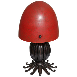 Louis Katona French Wrought Iron and Glass Table Lamp