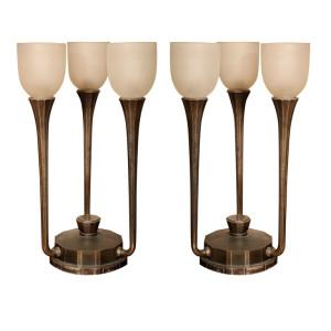 Pair of Art Deco 3-Light Table Lamps by J. Codure