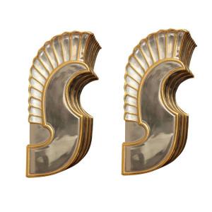 Pair of Cast Bronze Art Deco Wall Sconces