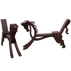 Rare Pair of Horse-shaped Wrought Iron Andirons