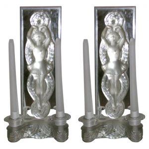 Pair of Figural Art Deco Sconces by Marc Lalique