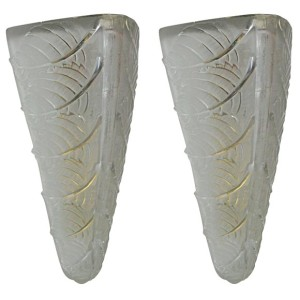 "Pair of ""Noisetier"" Art Deco Wall Sconces by Rene Lalique"