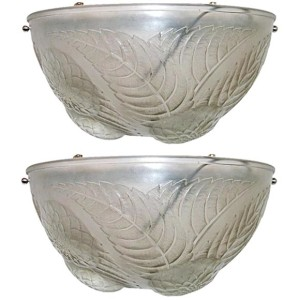 "Pair of Lalique ""Dahlias"" Art Deco Wall Sconces"