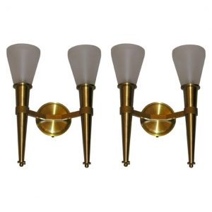 French 1950's Wall-sconces by Perzel