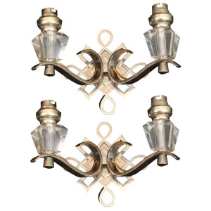 LELEU Art Deco Pair of Wall Sconces