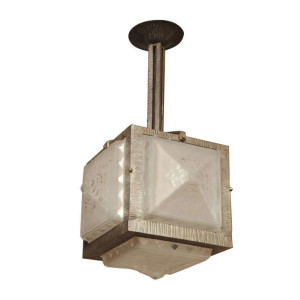 French Art Deco Ceiling Fixture by Muller