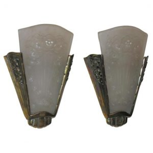 French Art Deco Wall Sconces by Muller Freres