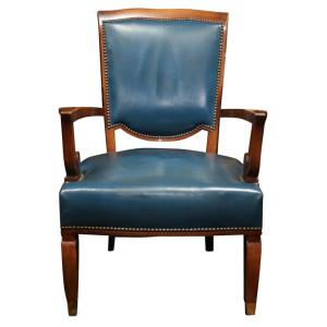 JULES LELEU Set of Four Art Deco Armchairs