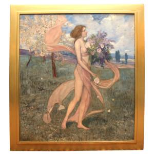 "An Art Nouveau Painting by Alexander Goltz, ""Fruhling"""
