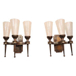 Pair of Monumental 1940's Wall Sconces