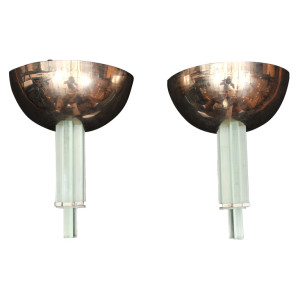 Pair of Modernist Art Deco Wall Sconces by Genet et Michon