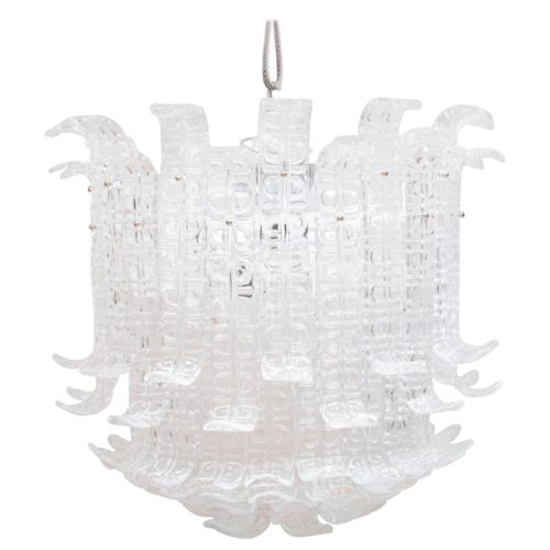 Art Deco Clear Murano Glass 'Ricci' Chandelier