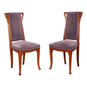 French Art Nouveau Pair of Louis Majorelle Chairs