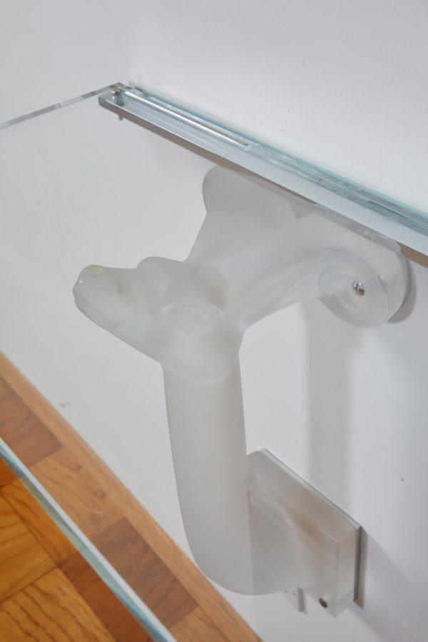 """Lalique Glass Console """"Mouflons"""""""