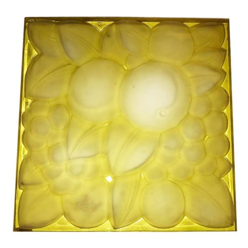 "Rene Lalique Glass Panel ""Fruits"""