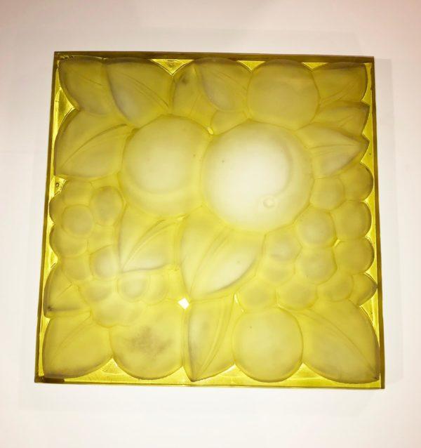 "Rene Lalique Glass Panel ""Fruits"""